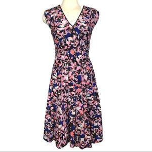 J Crew Dress Silk Pleated Hibiscus Print 8
